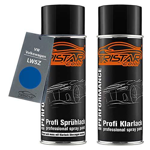 TRISTARcolor Autolack Spraydosen Set für VW/Volkswagen LW5Z Jazz Blue Perl Basislack Klarlack Sprühdose 400ml