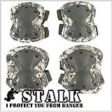 【STALK】最新カラー13種類 XTAK型 プロテクター エルボーパット ニーパット 肘 膝(4点・コンパクト収納袋セット) 自転車 登山 サバゲー スケボー 衝撃吸収 防御 防護 (ACU)