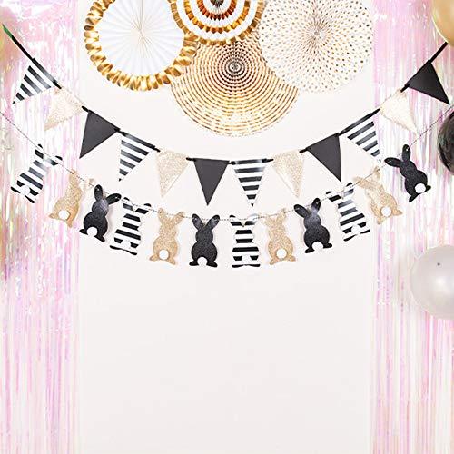 Ningz0l Verjaardagsdecoratie, zwart goud, konijntje, driehoek, pull vlag, banner, verjaardagsfeestje, decoratie, leveringen achtergrond sfeer, 2 stuks