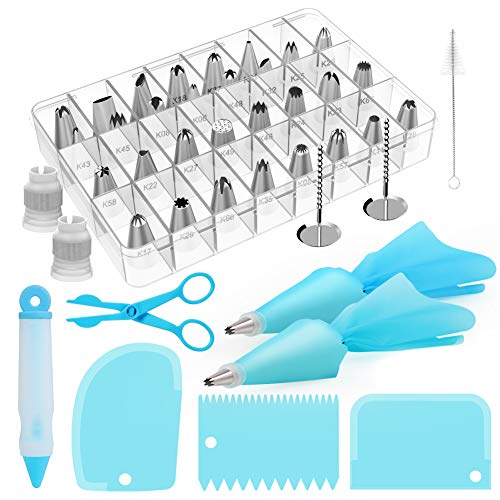 Kootek 42-Piece Cake Decorating Tools Kit Baking Supplies with Numbered Icing Tips, Pastry Bags, Smoother, Piping Nozzles Coupler, Flower Nails, Decorating Pen, Flower Lifter for Cupcakes Cookies