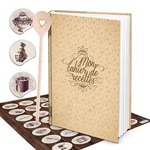 Cadeauset XXL HARDCOVER Frans kookboek om zelf te schrijven, MON CAHIER DE RECETTES + KOCHLFFEL hart + keukensticker - 164 blanco pagina's receptenboek geschenk keuken koken eigen recepten