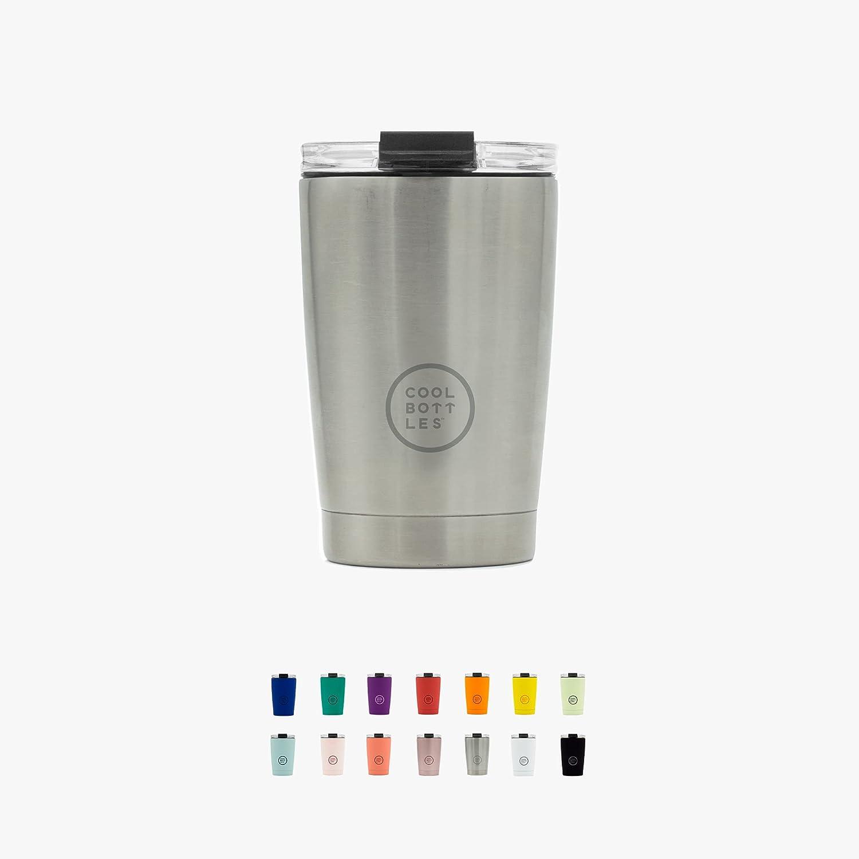 Cool Bottles - Tumbler - Vaso Térmico de Acero Inoxidable - 330 ml - Metallic Silver - Taza de Café - Altura 14 cm - Bebidas frías 16 horas y calientes 8 horas - Tapa Hermética - Libre de BPA