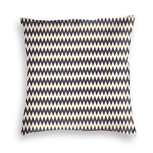 GULTMEE Decorative Cushion Cases Throw Pillow Covers,Horizontal Narrow Sharp Edged Zig Zags Classical Simplistic with Retro Effects