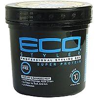 Eco Styler - Gel de peinado de 473ml, tarro negro con súper proteína