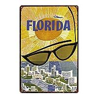 フロリダ メタルポスター壁画ショップ看板ショップ看板表示板金属板ブリキ看板情報防水装飾レストラン日本食料品店カフェ旅行用品誕生日新年クリスマスパーティーギフト
