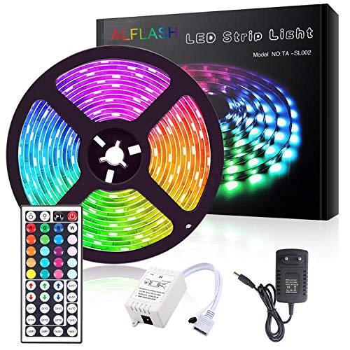 ALFLASH Striscia LED 5M 16.4FT RGB Musica Strisce IP65 impermeabile Impermeabile Flessibile/Accorciabile/Divisibile/Collegabile Nastri Led 24W 5 Metri di Luci Colorate Decorative Esterno (5M/16.4FT)