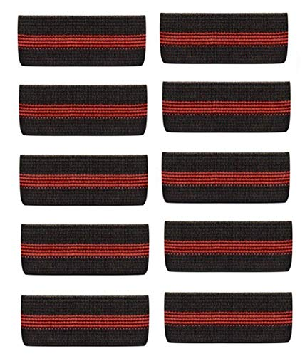 Choice4ever 10-PACK Thin Red Line Mourning Band Black Fire Department Funeral Honor Guard Mourning Band Strap 3/4'