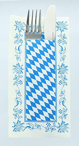 Tissue Deluxe Besteckservietten 40 x 40 cm 1/8-Falz   mit Besteckschlitz für Gastronomie & Feiern   75 Stück   Bayern