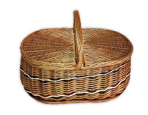 Alpenfell Picknickkorb Trio aus Weide, Weidenkorb Bügelkorb Pilzkorb, Handarbeit, sehr stabil - 3 Verschiedene Größen (Mittel)