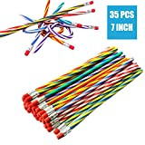 35 PCS Colorful Flexible Soft Pencil,Striped Magic Bendy Pencil with Eraser,Bendable Pencil for Children and Students,Classroom Gifts,Back to School Supplies