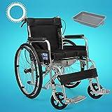 FDY Silla de Ruedas de Aluminio, Marco Ligero y Plegable, Asistente propulsado Silla de Ruedas, con Freno de Mano para Ancianos y discapacitados