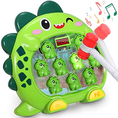 vamei Juego Martillo Topos Niños Juguete Martillo Golpear con Luz Musical Juego Interactivo Desarrollo con 1 Martillo Whack a Mole Dinosaurio Montessori Juegos para Bebes Niños Niñas 3 4 5 6 7