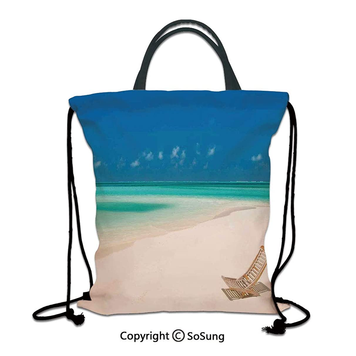 Seaside 3D Print Drawstring Bag String Backpack,Deck Chair on a Sandy Tropical Beach Relaxing Holidays Seascape Picture,for Travel Gym School Beach Shopping,Ivory Blue and Aqua