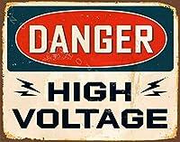 壁のバーのパブの家のレトロな装飾のための危険な高電圧の錫の印12x8インチ