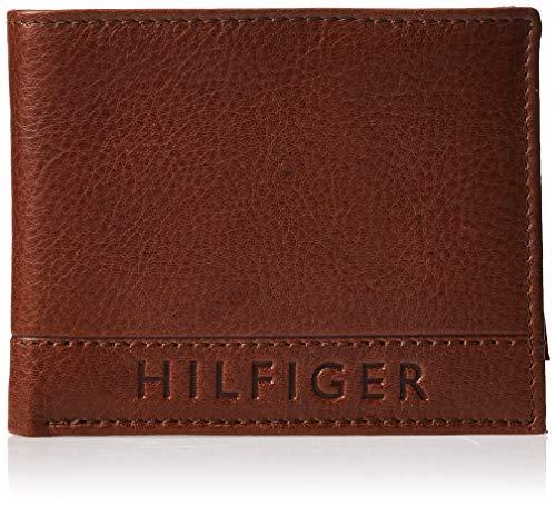 Tommy Hilfiger - Portafoglio da uomo, in pelle, sottile, con blocco RFID, con porta carte amovibile e confezione regalo -  Marrone -  taglia unica