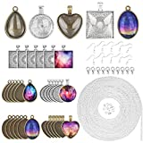 DPKOW Creazione di gioielli Vassoi ciondoli di catene, 30 vassoi per ciondoli con 5 forma vetro, 5m collana catene per gioielli creazione, 10 fermagli aragosta, 15 anelli di salto, 10 orecchini ganci