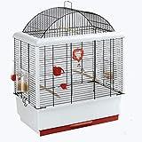 Casas de pájaros de hierro forjado de aves Cag, Jaula del loro, paloma Xuanfeng Peony Tigre Mynah jaula evitar el escape Puerta del diseño, fácil de limpiar (Color: Blanco, Tamaño: 50 * 30 * 64cm) Xpi