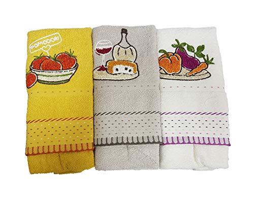 Vingi Alambbra - Juego de tres paños de cocina para casa, de algodón navideño, idea regalo moderno bordado, cocina (variante, 1 unidad n.º 3)