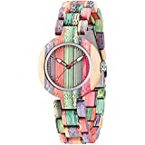 Wooden Watches for Women Handmade Colorful Quartz Ladies Womens Wooden Watch