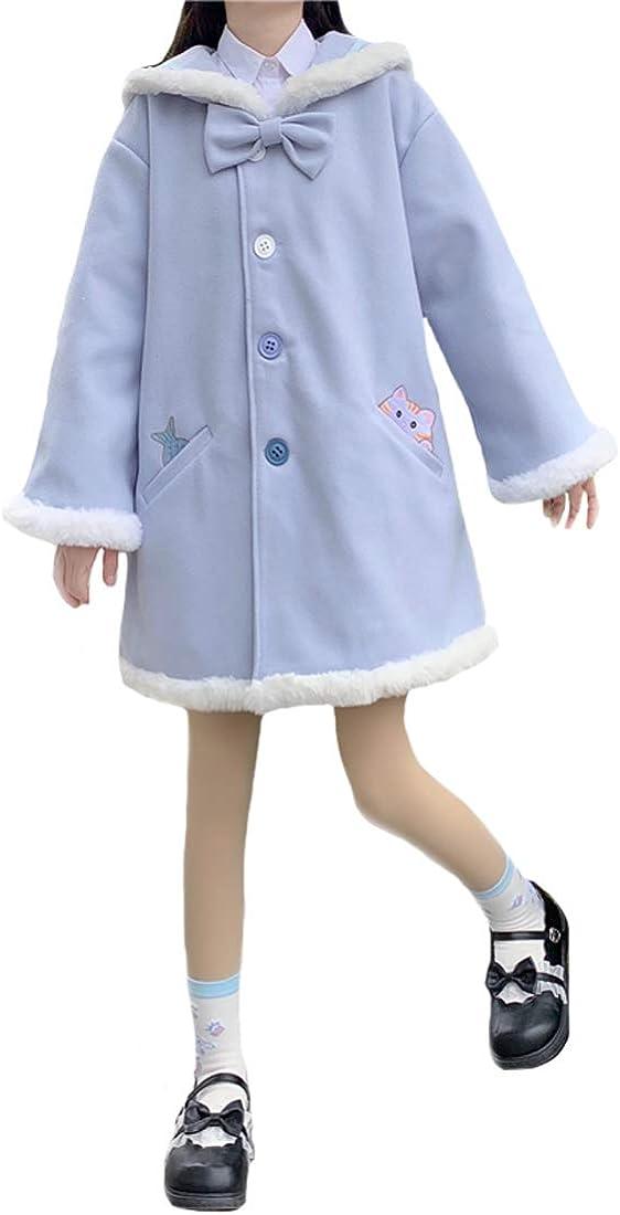 Girls Kawaii Winter Warm Coats Japanese Style Bow Navy Collar Daily Woolen Outwear Tops