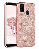 BENTOBEN Samsung Galaxy M30S Hülle, Samsung M30S Handyhülle Slim Hülle PC Schale mit TPU Bumper leicht dünn Kratzfest Schutzhülle Glitzer Hülle für Samsung Galaxy M30S / Samsung Galaxy M21 Rose Gold