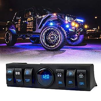 Xprite G3 6 Rocker Toggle Switch Panel Control System with Digital Voltmeter for 2009-2018 Jeep Wrangler JK JKU