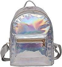 Holographic Backpack Rainbow Shoulder Bag Metallic Satchel Shiny Travel Daypack for Kid Girl Women