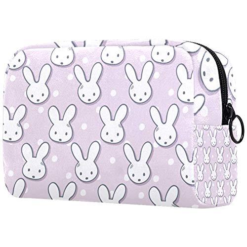 Kosmetiktasche für Mädchen und Damen, mit niedlichen Kaninchen, Maulkorb, gepunktet