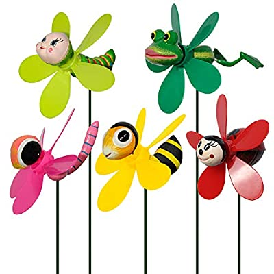 Amazon - Save 15%: SUNPRO Garden Decor Pinwheels, 5-Pack Colorful 3D Lovely Insect Whirligig…