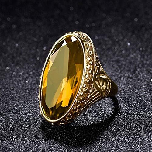 Phetmanee Shop Mens Signet Yellow Citrine CTR Celtic Band Gold Stainless Steel Biker Rings Gift (11)