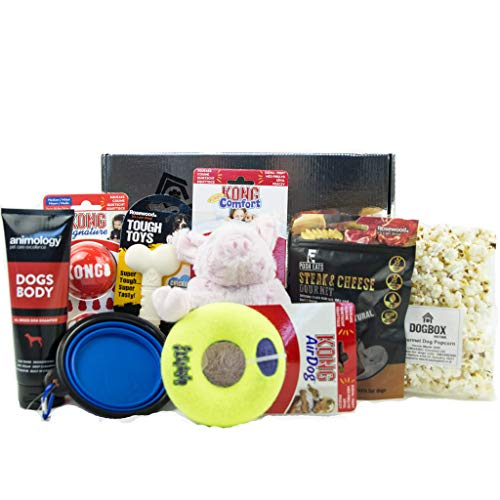DogBox Boutique Silver Dog Gifts Box Dog Hamper Perfect For Dog Birthday, Christmas Or A Monthly Treat - Bursting Dog Treats, Toys And Accessories