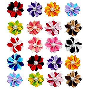 JpGdn 40pcs/(20pairs) Dog Hair Bowswith Rubber Band Hair Bow Ties for Puppy Doggy Cat Small and Medium Animals Hair Flower Grooming Accessories