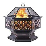 Wsjfc Outdoor-Metall-Feuerstelle mit Mesh-Bildschirm und Poker, Kamin-Patio-Hinterhof-Heizungs-Feuerschale, für Outdoor-Camping-Terrasse