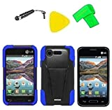 Heavy Duty Hybrid Phone Cover Case Cell Phone Accessory + Extreme Band + Stylus Pen + LCD Screen Protector + Yellow Pry Tool For Straight Talk Tracfone LG Optimus Fuel L34C / Verizon LG Optimus Zone 2 VS415 Vs415pp (T-Stand Black Blue)