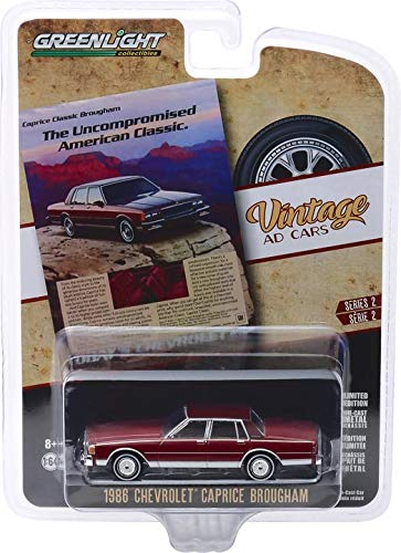"""Greenlight 39030-F Vintage Ad Cars Series 2-1986 Chevrolet Caprice Brougham """"The Uncompromised American Classic"""" 1:64 Scale"""