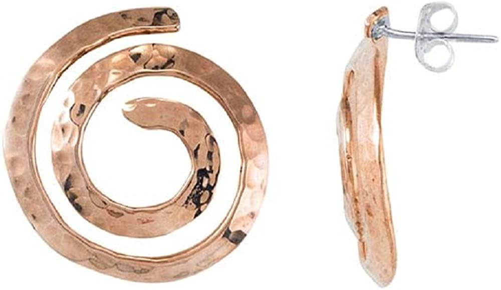 Ranking Deluxe TOP7 BOHO Copper Hammered Swirl Dangling Circle 23mm – Earrings Stud