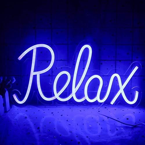 Led Relajar Letrero de neón Relajar Palabras Neon Luz azul nocturna Neon Letreros de pared para habitación de niños Sala...