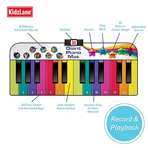 Kidzlane Floor Piano Mat for Kids and Toddlers | Giant 6 ft. Piano Mat, 24 Keys, 10 Song Cards, Built in Songs, Record & Playback, 8 Instrument Sounds | Musical Gift Toy for Boys & Girls Ages 3+