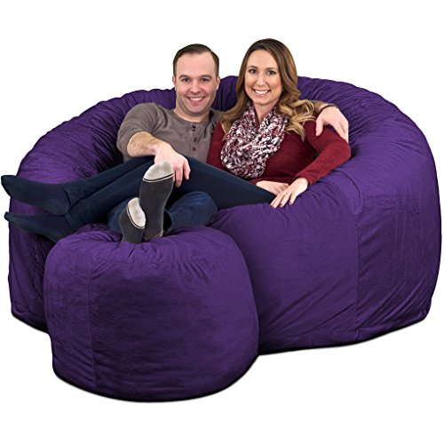 ULTIMATE SACK 6000 Bean Bag Chair w/Footstool: Giant Foam-Filled Furniture - Machine Washable Covers, Double Stitched Seams, Durable Inner Liner, and 100% Virgin Foam Footstool Incl. (Purple, Suede)