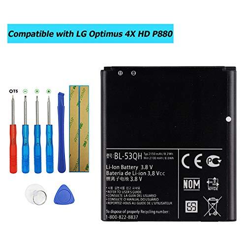 Upplus BL-53QH - Batteria di Ricambio per LG Optimus 4X HD P880 L9 P769 P760 L 9 P768 P765 LTE II con Kit di Attrezzi