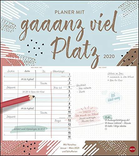 Planer mit gaaanz viel Platz modern. Wandkalender 2020. Monatskalendarium. Spiralbindung. Format 40 x 45 cm
