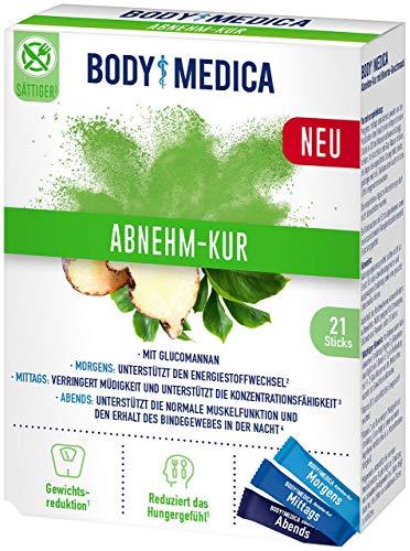 BodyMedica Abnehm-Kur, Nahrungsergänzungsmittel mit Glucomannan, Vitaminen und Mineralstoffen für morgens, mittags und abends, 1 x 21 Sticks