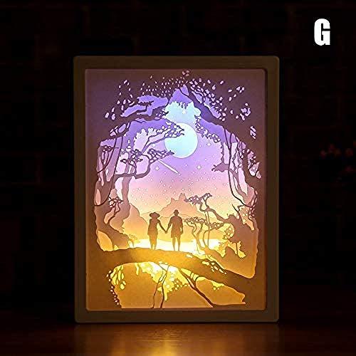 Wangzj Papercut Light Boxes 3D Shadow Box Led Light Night Lamp Art Decoration 3D Paper Carving Light Lamp LED Gift Decorativo Mood Light para niños G