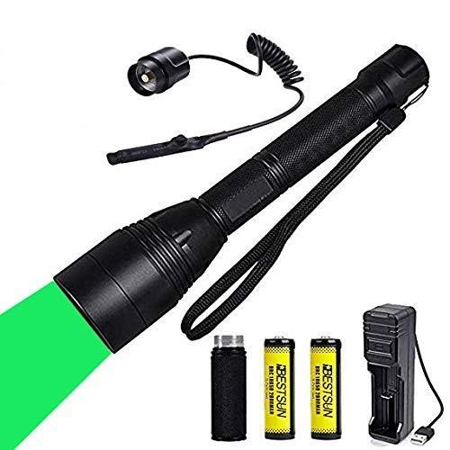 Linterna de caza verde, linternas de luz verde para la caza Coyote Hogares Linternas de caza Foco ajustable con interruptor de presión remoto Baterías recargables y tubo de extensión