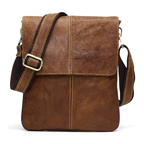 BAIGIO Men's Genuine Leather Messenger Bag Retro Folding Cross Body Shoulder Satchel Bag for Wallet Purse Mobile Phone Keys iPad Kindle Tablet (Brown)