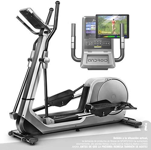 Sportstech Premium Bicicleta elíptica para Casa | Marca Alemana de Calidad | Eventos en Directo, App Multijugador & Consola Android | Elíptica para casa LCX800 | 12 programas & HRC-Mode - Volante 24Kg ⭐