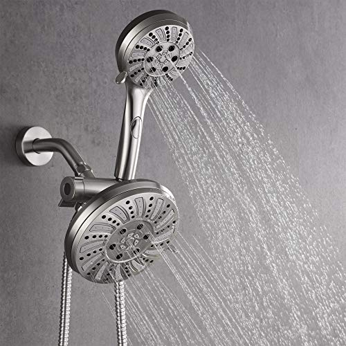 AMAZING FORCE 2 In 1 Shower Head, High Pressure 6-Setting Handheld Shower Head & 6 Inches Premium Rainfall Combo With Extra Long Shower Hose, Dual Rain Hand Showerhead Stainless Steel, Brushed Nickel