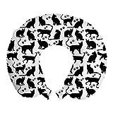 ABAKUHAUS Gatto Cuscino da Viaggio, Sagome nere amichevole, Accessorio in Schiuma di Memoria per Viaggio, 30 cm x 30 cm, Nero bianco