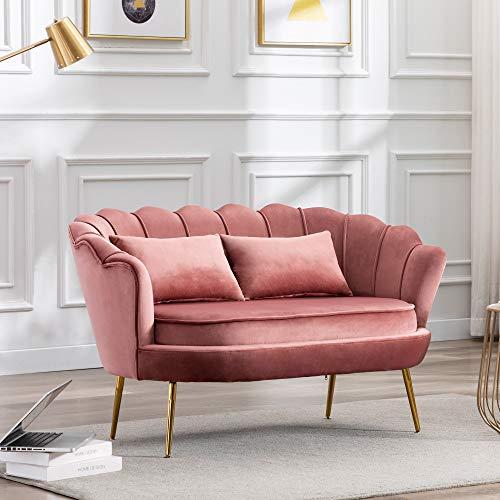 Sofá moderno y contemporáneo de terciopelo de 2 plazas, tapizado con patas de metal dorado, sillón ocasional para salón, dormitorio (rosa)