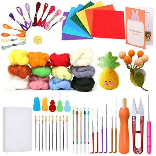 Needle Felting Kit - Felting Tools Kit Including Felting Needles, Felt Fabric Sheet, Wool Roving Yarn, Foam Mat, Embroidery Needles, Embroidery Thread, Perfect for Needle Felting